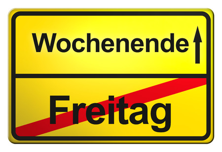 meaningful: A yellow, German exit sign with meaningful free, funny allusions.