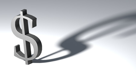 dollar icon: 3d Illustration of the european currency euro on white background.