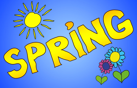 cheerfully: The word Spring illustrated in a colorfull childisch way.