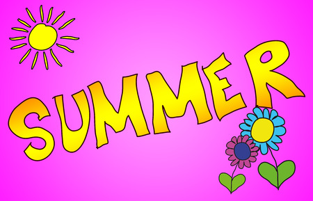 The word Summer illustrated in a colorfull childisch way.
