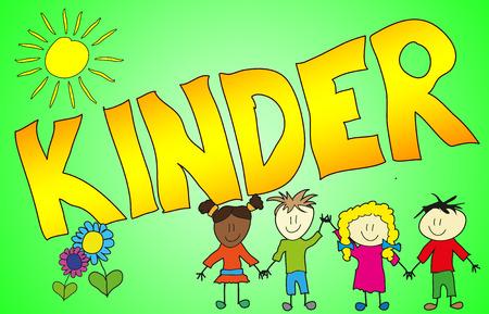 bunt: Das Wort KINDER auf fröhliche, kindliche und bunte Art illustriert! Stock Photo