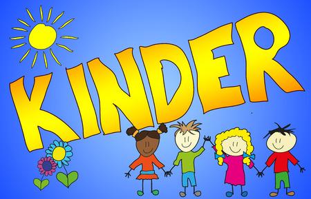 Das Wort KINDER auf fröhliche, kindliche und bunte Art illustriert! Stock Photo