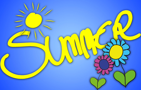 cheerfully: The word Summer illustrated in a colorfull, childisch way.