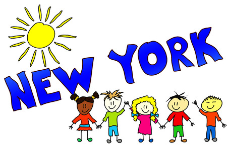 cheerfully: The word NEW YORK illustrated in a colorfull, childisch way.