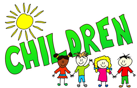 cheerfully: The word Children illustrated in a colorfull, childisch way.