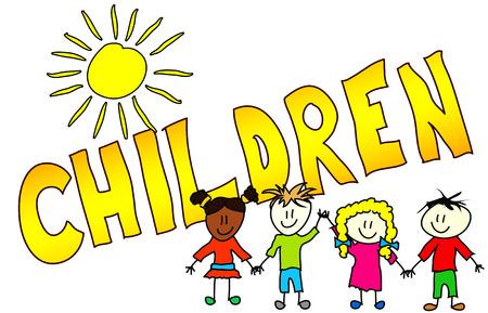 Die Wort Kinder in einem farbenfrohes dargestellt, childisch Weg.
