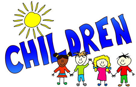 The word Children illustrated in a colorfull, childisch way.