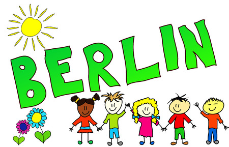 babyhood: The word BERLIN illustrated in a colorfull childisch way.
