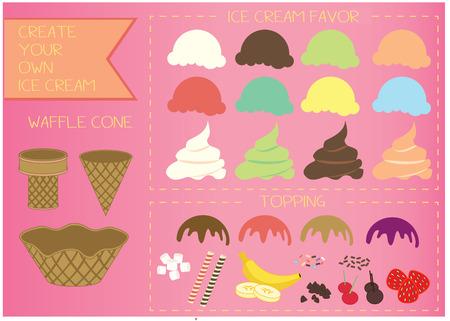 chocolate ice cream: Ice cream illustration  Illustration