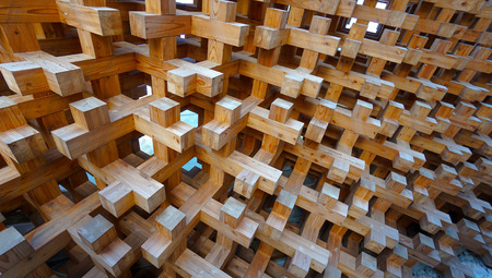 wood block: wood block structure pattern of facade building