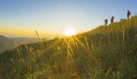 gebergte landschap in zon stijgen tijd, Thailand Stockfoto