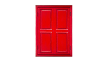 chines: residential red closed window frame