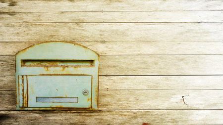 postbox: postbox on the wood background