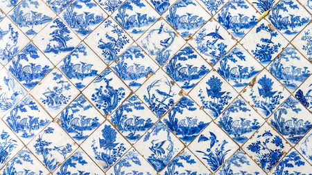 old wallpaper: ceramic tile pattern from chines style Stock Photo