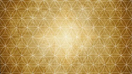 古い紙の質感の花パターン図形の神聖幾何学 写真素材