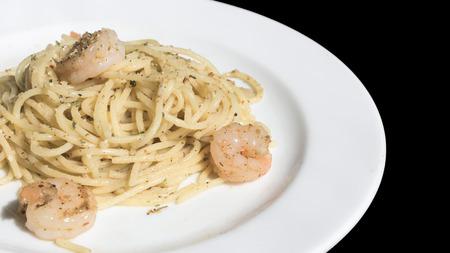 olio: spaghetti with shrimp olive oil on white dish