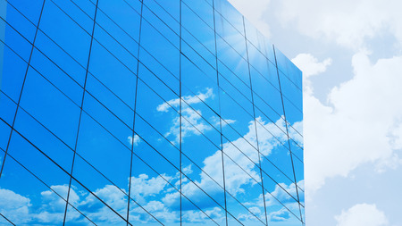 glass facade cloud on the modern building Stock Photo