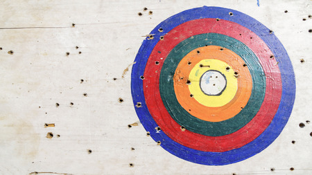 white wood: goal ring in archery target on white wood Stock Photo