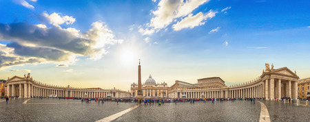 papal audience: Panorama view of Saint Peters Basilica and square on sunrise in Vatican, Italy