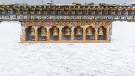 bhutan: Religious prayer wheels in Bhutan Stock Photo