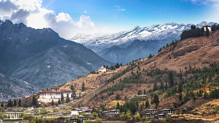 landscape of mountain and valley country,Thimphu city in Bhutan Stock Photo