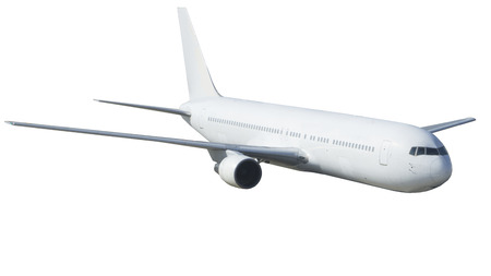 rear wing: commercial airplane on white background isolated