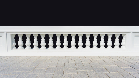 Classic design white beautiful banister railing for buliding or house for exterior architure and landscape garden with black background isolated Stock Photo