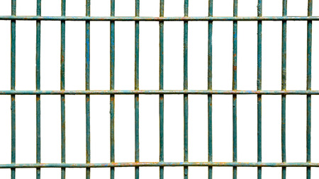 metal grate: Square iron cage isolate on white background