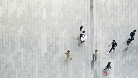top aerial view crowd of people walking on business street pedestrian 스톡 콘텐츠