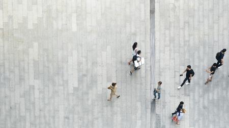 top aerial view crowd of people walking on business street pedestrian Standard-Bild
