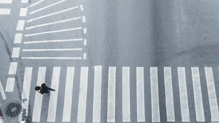 top view of people walk on street pedestrian crossroad in the city street.