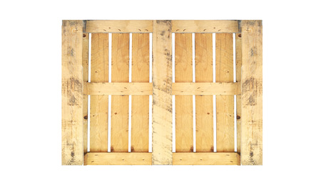 Back Of Wood Pallet On White Background In Top View Stock Photo