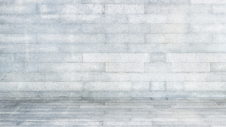 grey block pattern texture on background with wall and floor for interior decorate Stock Photo