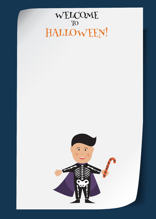 Vector Halloween poster with dracula boy. Creative cartoon illustration of kid in festive costume and cloak. Free place for your design. Funny template for banner, advertisement, flyer, invitation