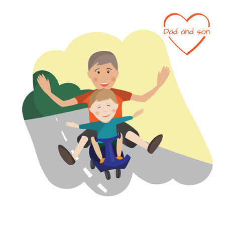 hapiness: Vector illustration of Dad and son relationships. Family is riding the kick scooter. Happy childhood concept.Cheerful people get fun. Faher and son spend time together. Creative idea. Template for fathers day