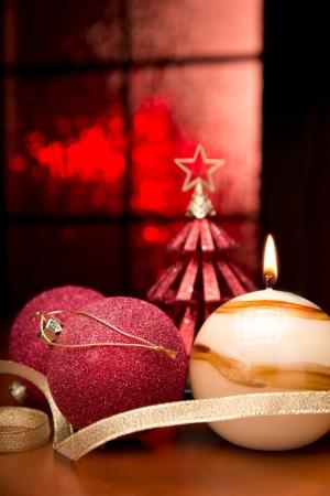 velas de navidad: Las luces de Navidad Foto de archivo