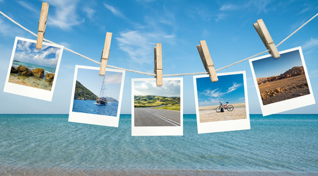 group picture: Pictures of summer destinations against blue sky and sea