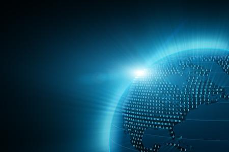 Digital blå jordjordklotet med ljusstrålar