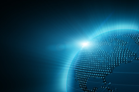 Planeta tierra azul digital con haces de luz
