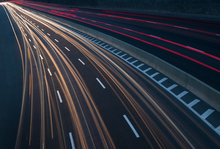 highway night: Long exposure image of highway with light trails