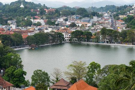 kandy: Kandy lake and downtown, Sri Lanka