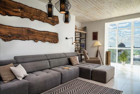 living room window: Comfortable living room with panoramic window