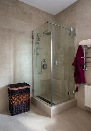 modern bathroom: Shower in modern bathroom