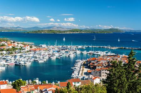 Beautiful Croatia coastline, harbour with lots of yachts