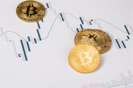 Bitcoin and stock market chart Stock Photo