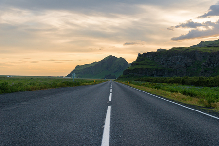 Highway #1 in Iceland at sunset Imagens
