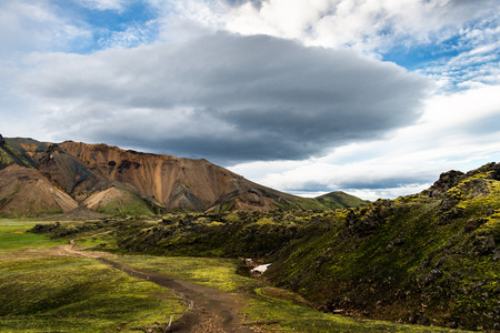 Tourism in Iceland, colorful mountains in Landmannalaugar