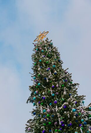 Big decorated christmas tree outdoors 写真素材