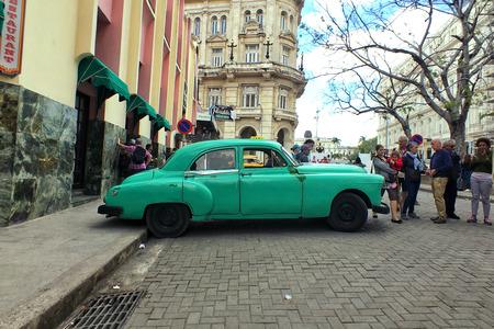 Havana Cuba Classic Car, Vintage green Little habana, habana vieja