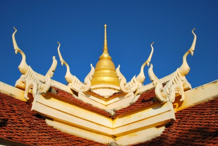 Thai art on roof Church at Thai temple photo